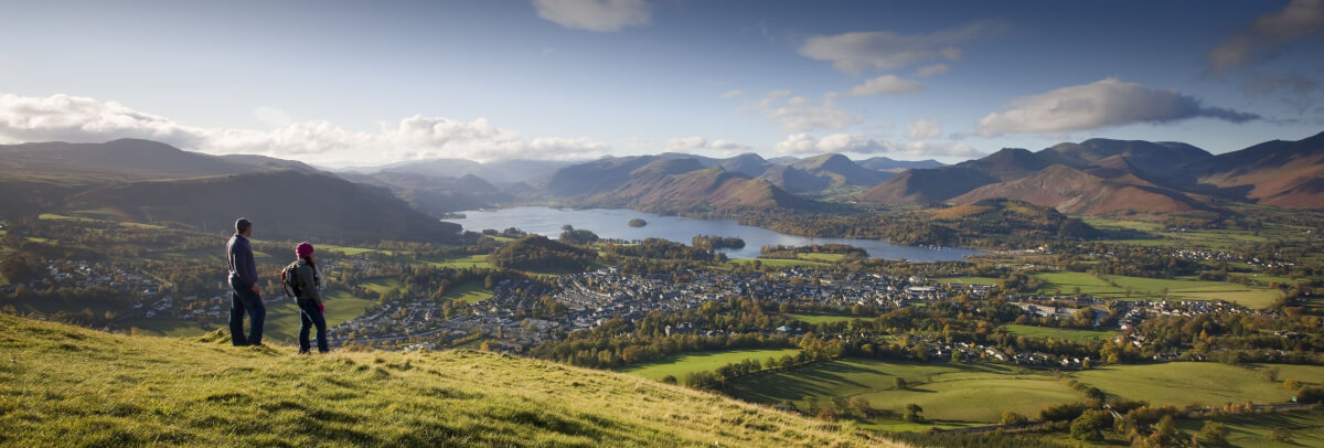 Romantic Lake District - Latrigg overlooking Keswick in the Lake District by Derwentwater lake in the distance.