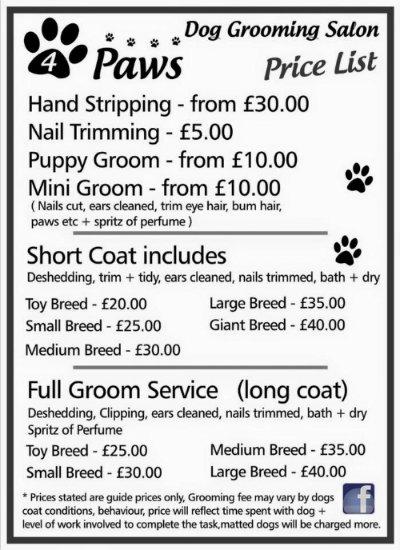 Dog Grooming Tariff 4Paws